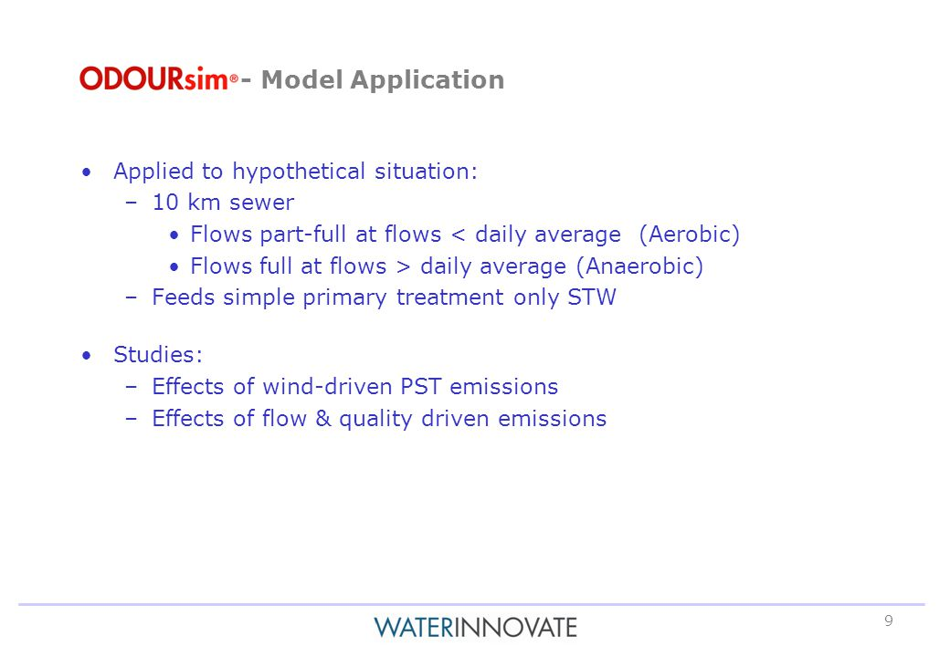 9 - Model Application Applied to hypothetical situation: –10 km sewer Flows part-full at flows < daily average (Aerobic) Flows full at flows > daily average (Anaerobic) –Feeds simple primary treatment only STW Studies: –Effects of wind-driven PST emissions –Effects of flow & quality driven emissions