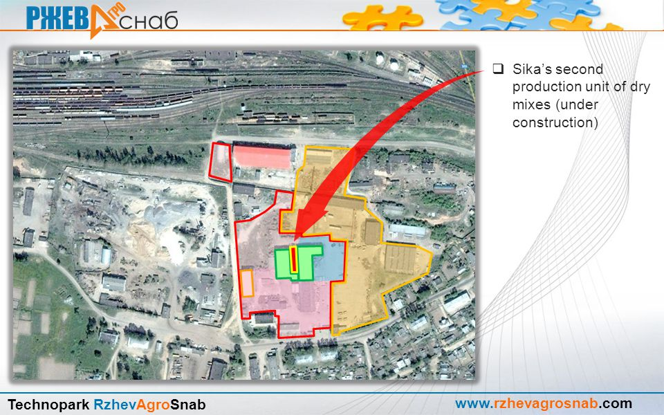 www.rzhevagrosnab.com Technopark RzhevAgroSnab Sika's warehouse distribution complex  Started at 2009  The investment amount is 250'000 Swiss francs