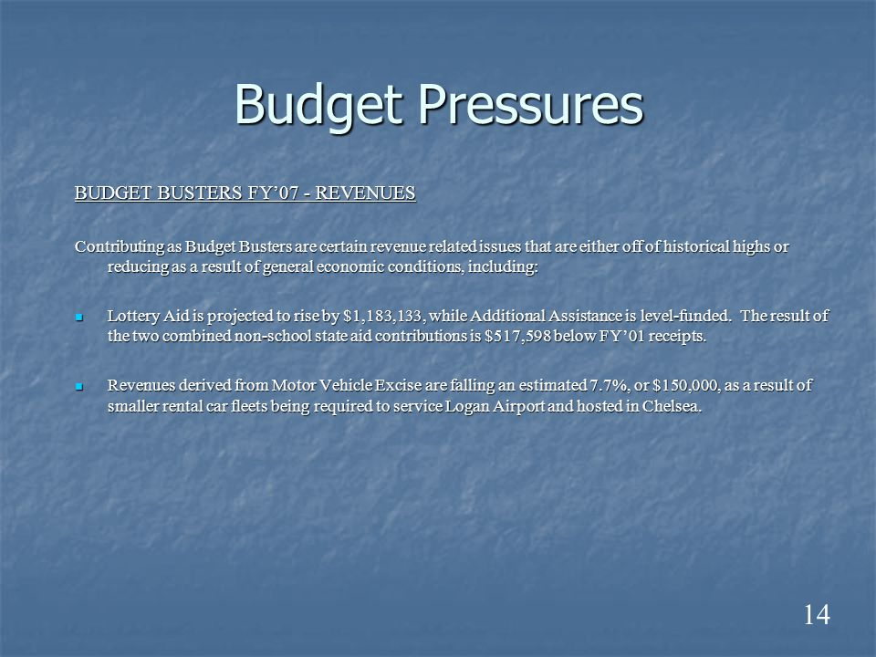 Budget Pressures BUDGET BUSTERS FY'07 - REVENUES Contributing as Budget Busters are certain revenue related issues that are either off of historical highs or reducing as a result of general economic conditions, including: Lottery Aid is projected to rise by $1,183,133, while Additional Assistance is level-funded.