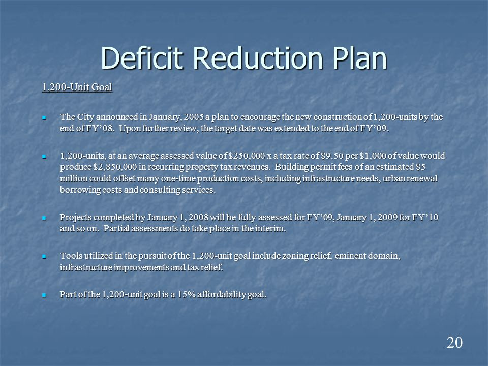 Deficit Reduction Plan 1,200-Unit Goal The City announced in January, 2005 a plan to encourage the new construction of 1,200-units by the end of FY'08.