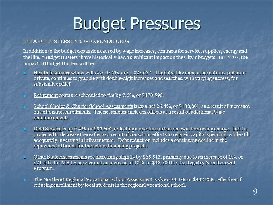Budget Pressures Health Insurance which will rise 10.5%, or $1,025,657.