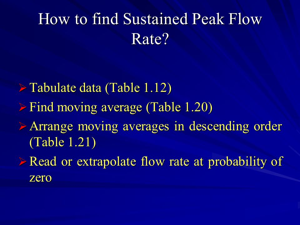 How to find Sustained Peak Flow Rate.