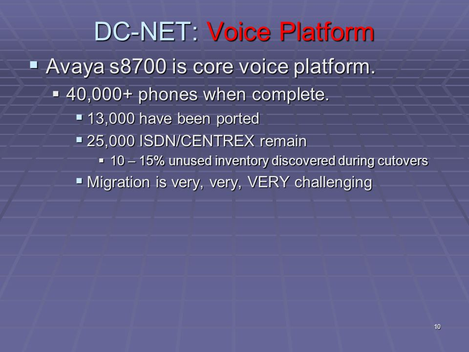 10 DC-NET: Voice Platform  Avaya s8700 is core voice platform.