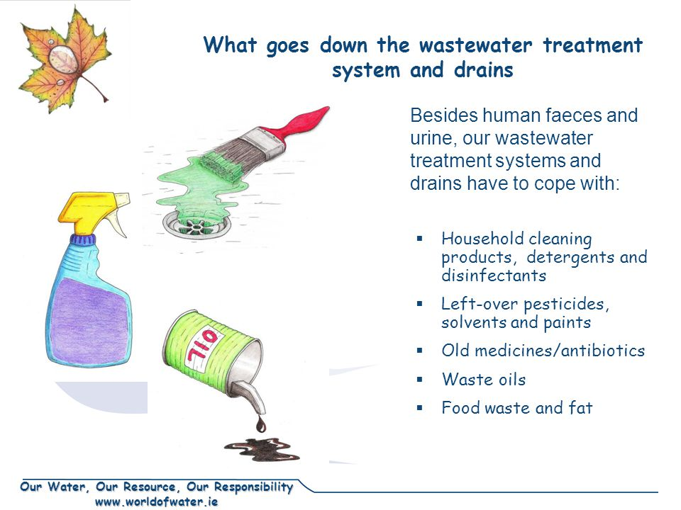 Our Water, Our Resource, Our Responsibility www.worldofwater.ie What goes down the wastewater treatment system and drains  Household cleaning products, detergents and disinfectants  Left-over pesticides, solvents and paints  Old medicines/antibiotics  Waste oils  Food waste and fat Besides human faeces and urine, our wastewater treatment systems and drains have to cope with: