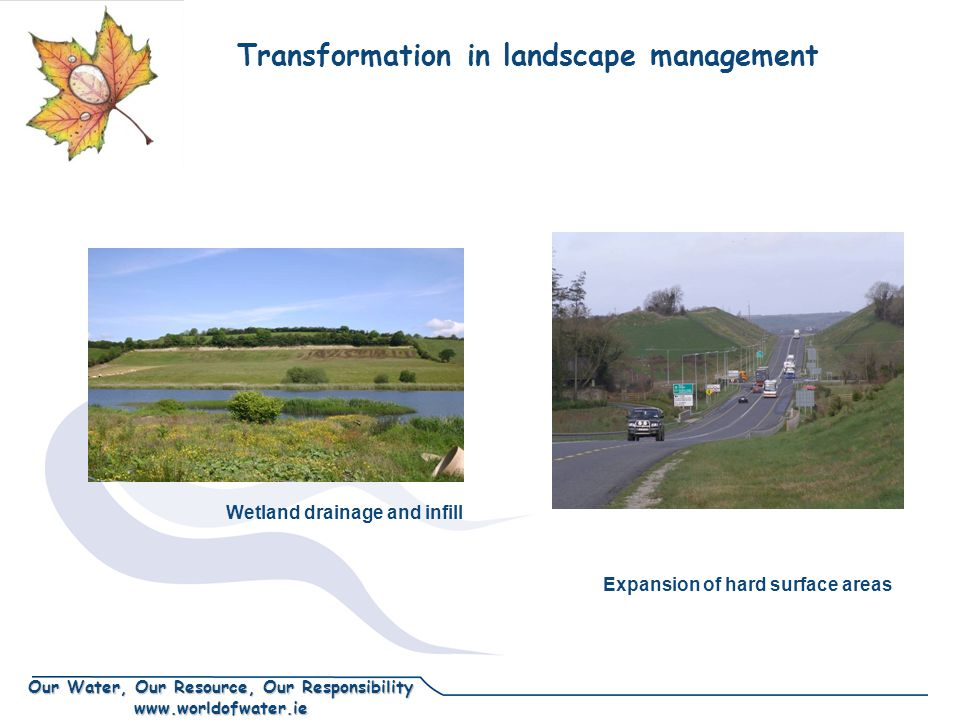 Our Water, Our Resource, Our Responsibility www.worldofwater.ie Transformation in landscape management Expansion of hard surface areas Wetland drainage and infill