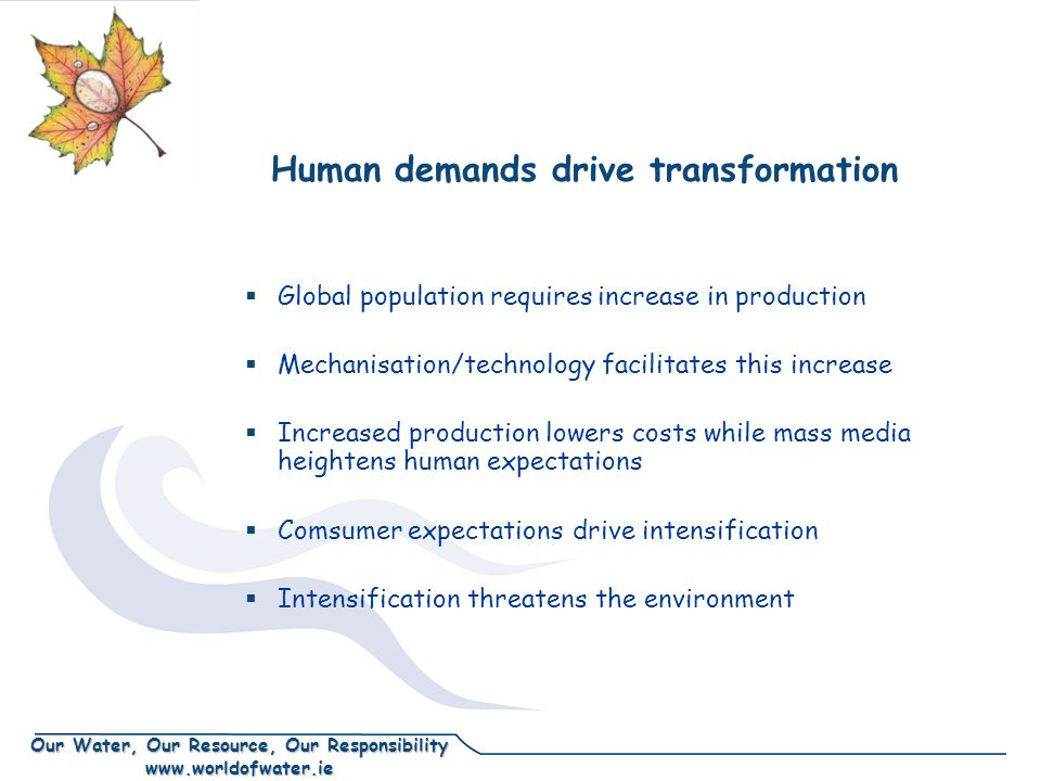 Our Water, Our Resource, Our Responsibility www.worldofwater.ie Human demands drive transformation  Global population requires increase in production