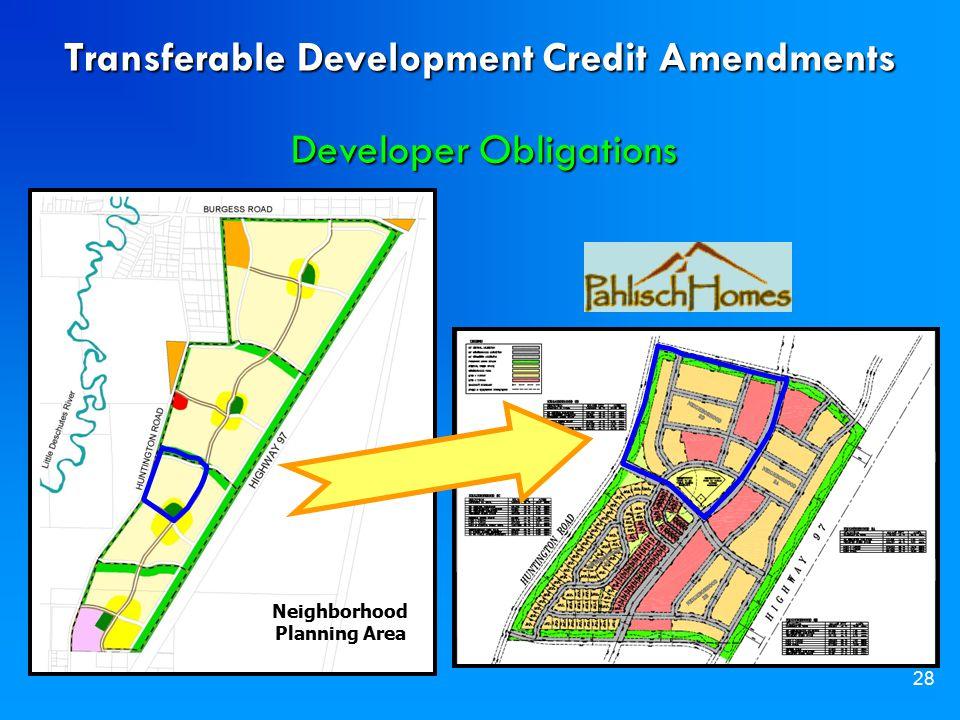 28 Neighborhood Planning Area Transferable Development Credit Amendments Developer Obligations