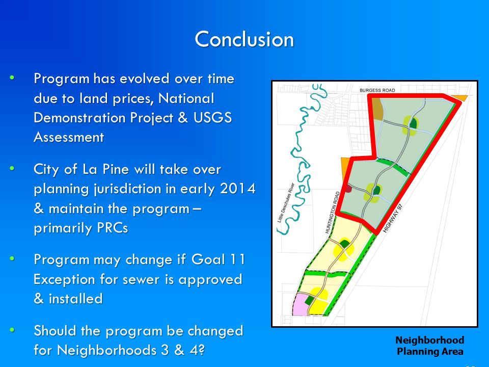 33Conclusion Neighborhood Planning Area Program has evolved over time due to land prices, National Demonstration Project & USGS Assessment Program has