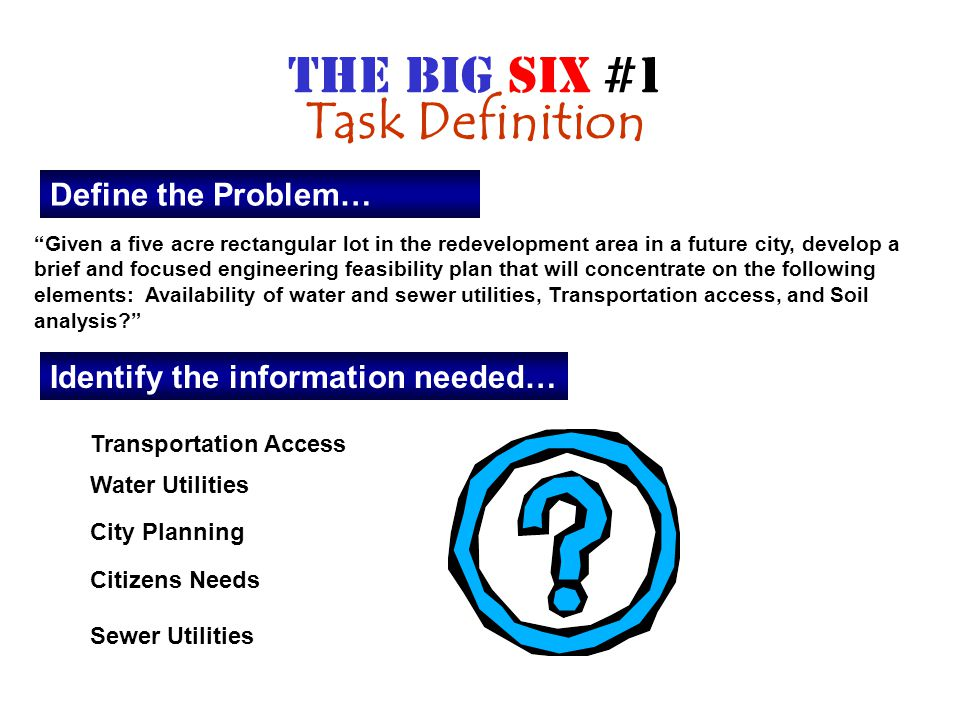 Define the Problem… Given a five acre rectangular lot in the redevelopment area in a future city, develop a brief and focused engineering feasibility plan that will concentrate on the following elements: Availability of water and sewer utilities, Transportation access, and Soil analysis Identify the information needed… Transportation Access Water Utilities City Planning Citizens Needs Sewer Utilities THE BIG SIX #1 Task Definition