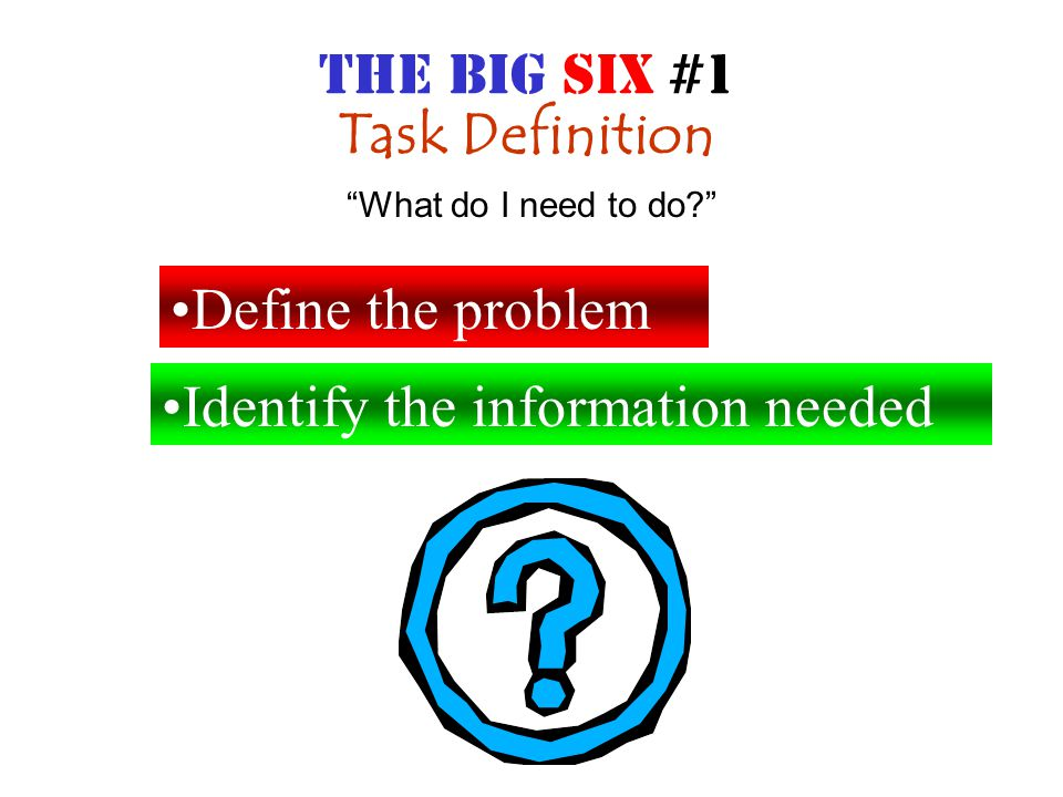 INFORMATION SEEKING STRATEGIES Brainstorming all possible resources Select the best resources What can I use to find what I need? THE BIG SIX #2