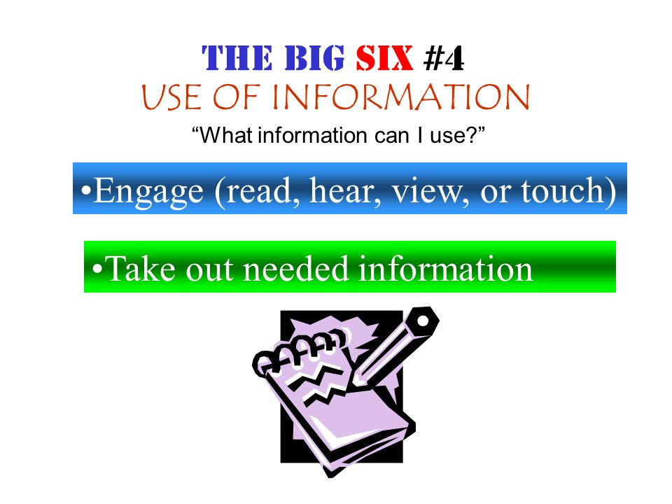 SYNTHESIS Organize information from multiple sources Present the results How can I put my information together? THE BIG SIX #5