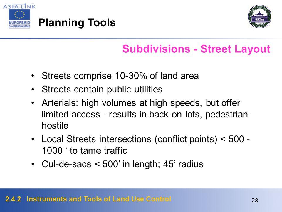 2.4.2 Instruments and Tools of Land Use Control 27 Subdivisions: Environmental Issues Natural Hazards & Environmentally sensitive areas (flood, hillsi