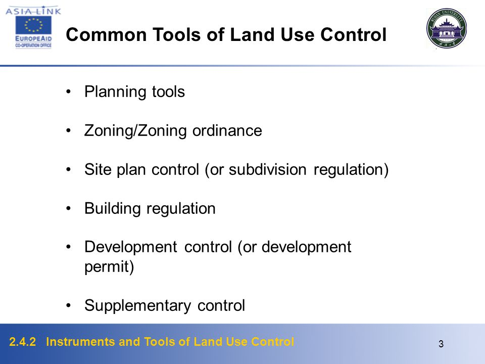 2.4.2 Instruments and Tools of Land Use Control 2 Categorization of Instruments of Land Use Control 'National policy and perspectives' instruments 'St