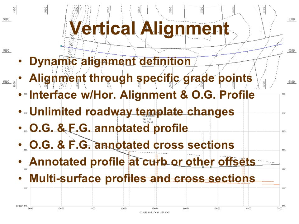Vertical Alignment Dynamic alignment definition Alignment through specific grade points Interface w/Hor.