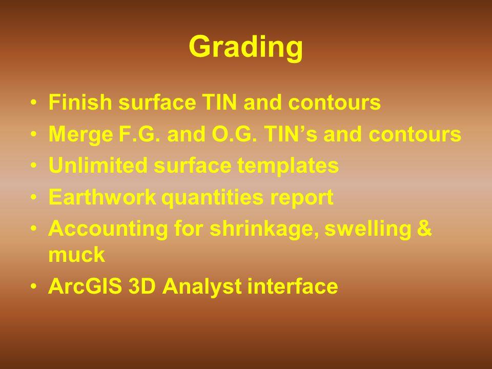 Grading Finish surface TIN and contours Merge F.G.