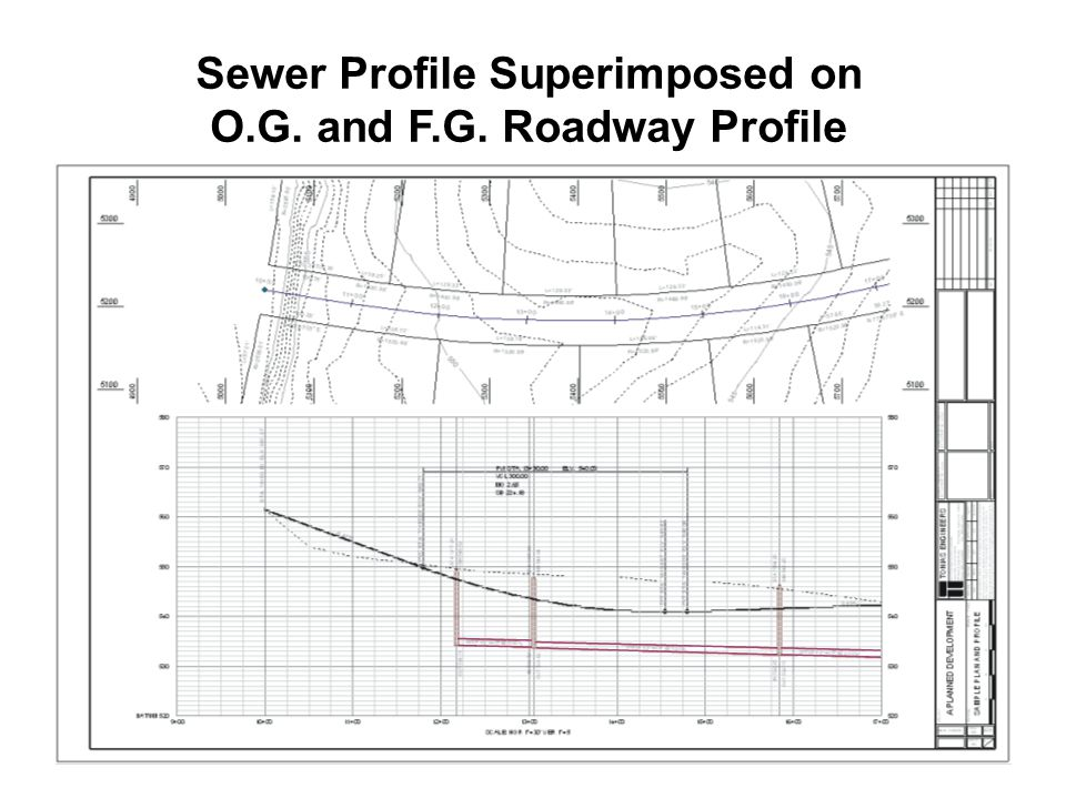 Sewer Profile Superimposed onO.G. and F.G. Roadway ProfileSewer Profile Superimposed onO.G.