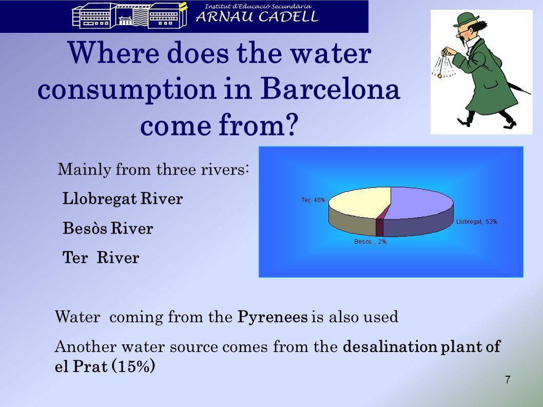 Llobregat River 170 km long, 4957 km 2 of basin surface.