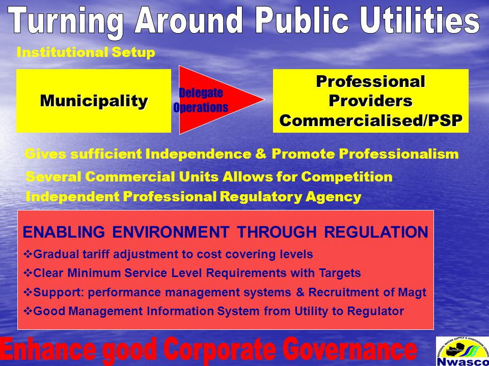 Municipality Delegate Operations ProfessionalProvidersCommercialised/PSP ENABLING ENVIRONMENT THROUGH REGULATION  Gradual tariff adjustment to cost covering levels  Clear Minimum Service Level Requirements with Targets  Support: performance management systems & Recruitment of Magt  Good Management Information System from Utility to Regulator Institutional Setup Gives sufficient Independence & Promote Professionalism Several Commercial Units Allows for Competition Independent Professional Regulatory Agency