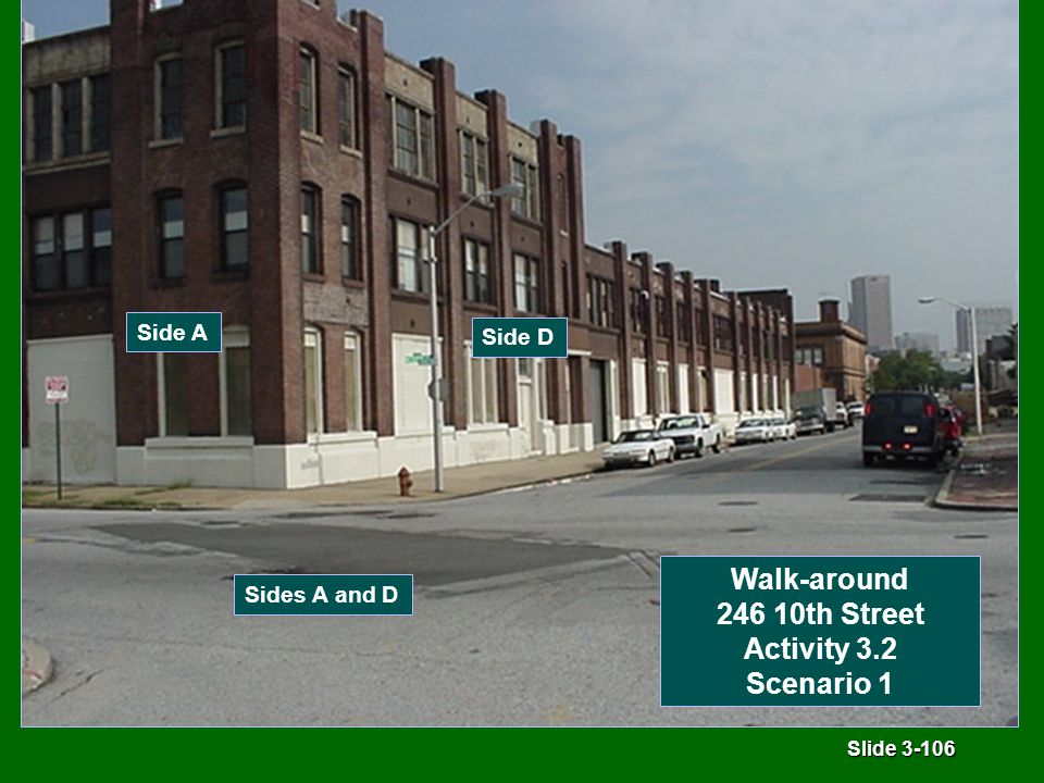 Slide 3-106 Side A Side D Sides A and D Walk-around 246 10th Street Activity 3.2 Scenario 1