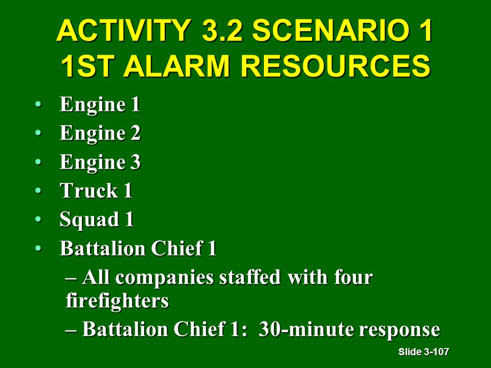 Slide 3-107 ACTIVITY 3.2 SCENARIO 1 1ST ALARM RESOURCES Engine 1Engine 1 Engine 2Engine 2 Engine 3Engine 3 Truck 1Truck 1 Squad 1Squad 1 Battalion Chief 1Battalion Chief 1 – All companies staffed with four firefighters – Battalion Chief 1: 30-minute response