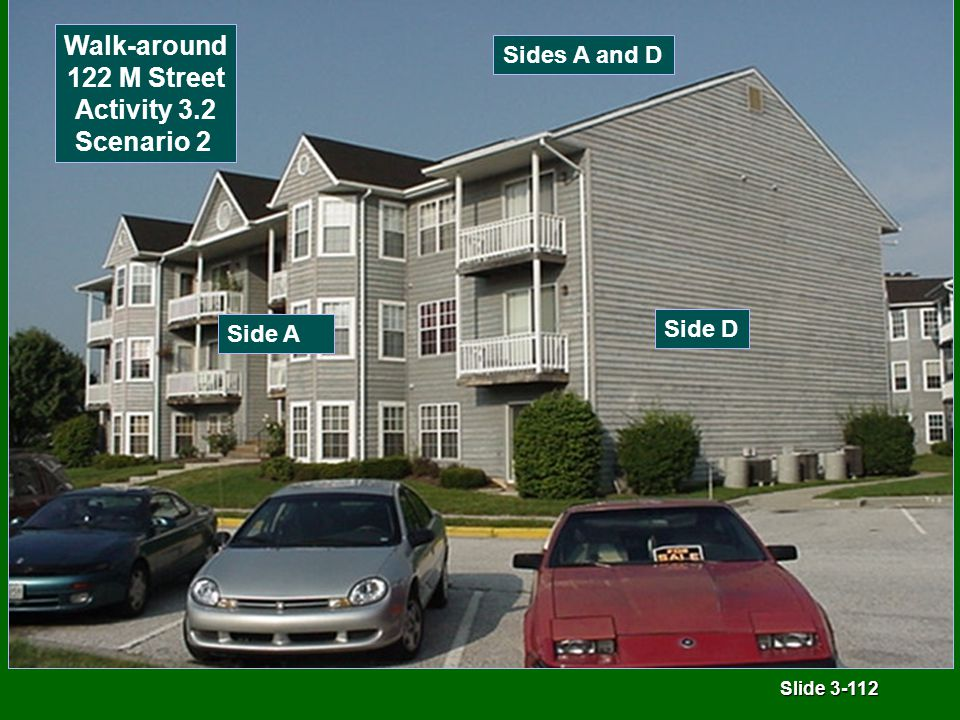 Slide 3-112 Sides A and D Side A Side D Walk-around 122 M Street Activity 3.2 Scenario 2