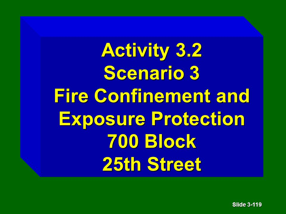 Slide 3-119 Activity 3.2 Scenario 3 Fire Confinement and Exposure Protection 700 Block 25th Street