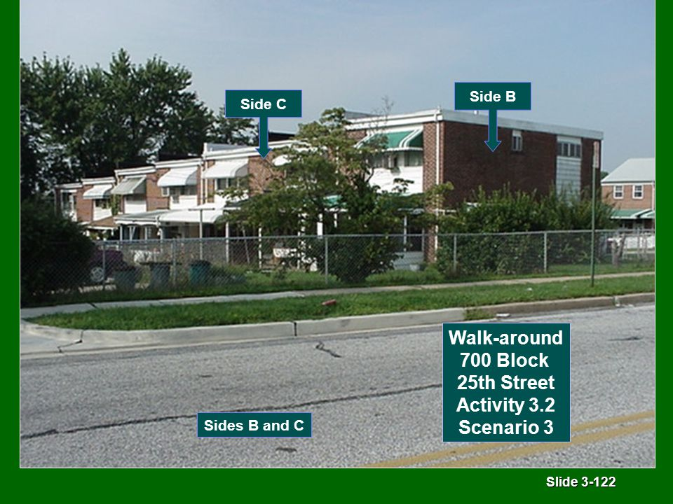 Slide 3-122 Sides B and C Side C Side B Walk-around 700 Block 25th Street Activity 3.2 Scenario 3