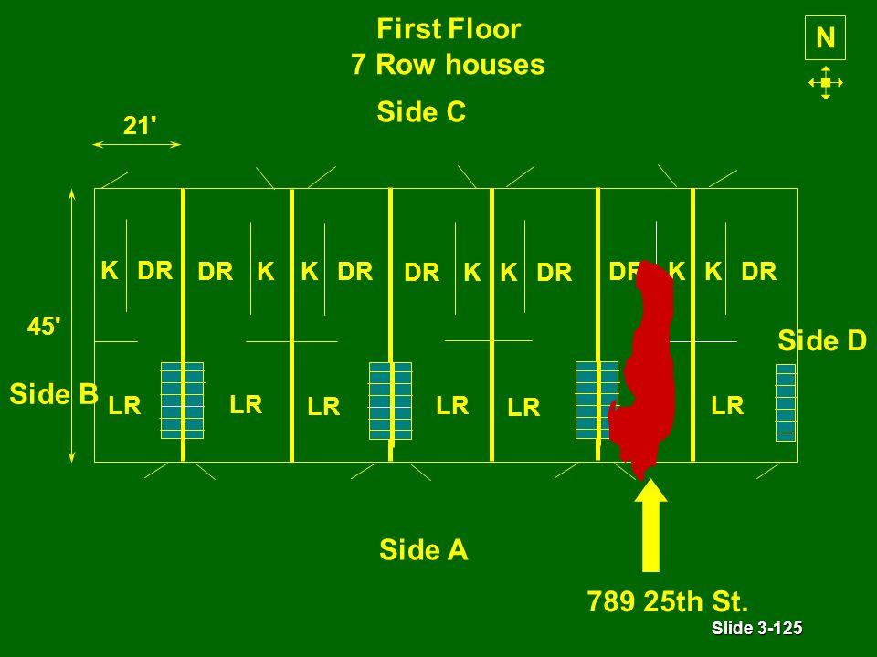 Slide 3-125 First Floor 7 Row houses N LR KDR LR KDR 21 45 LR KDR LR KDR LR KDR LR KDR LR KDR Side A Side C Side D Side B 789 25th St.