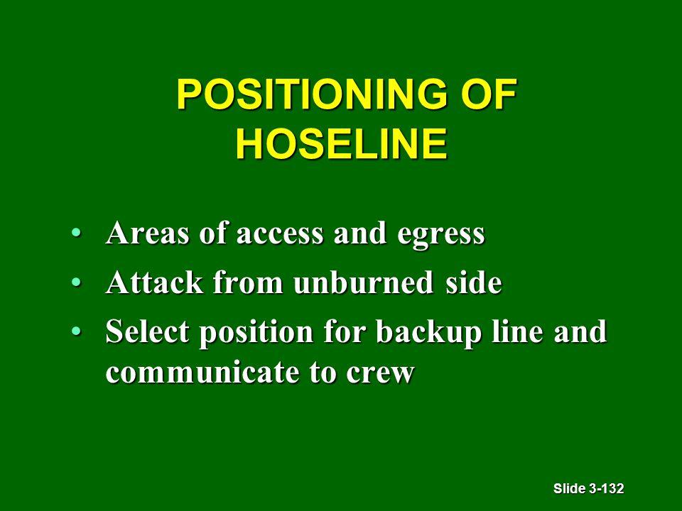 Slide 3-132 POSITIONING OF HOSELINE POSITIONING OF HOSELINE Areas of access and egressAreas of access and egress Attack from unburned sideAttack from unburned side Select position for backup line and communicate to crewSelect position for backup line and communicate to crew