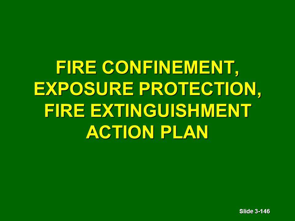 Slide 3-146 FIRE CONFINEMENT, EXPOSURE PROTECTION, FIRE EXTINGUISHMENT ACTION PLAN