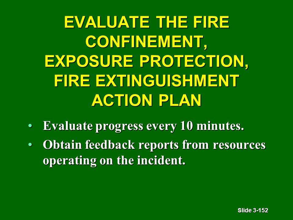Slide 3-152 EVALUATE THE FIRE CONFINEMENT, EXPOSURE PROTECTION, FIRE EXTINGUISHMENT ACTION PLAN Evaluate progress every 10 minutes.Evaluate progress every 10 minutes.