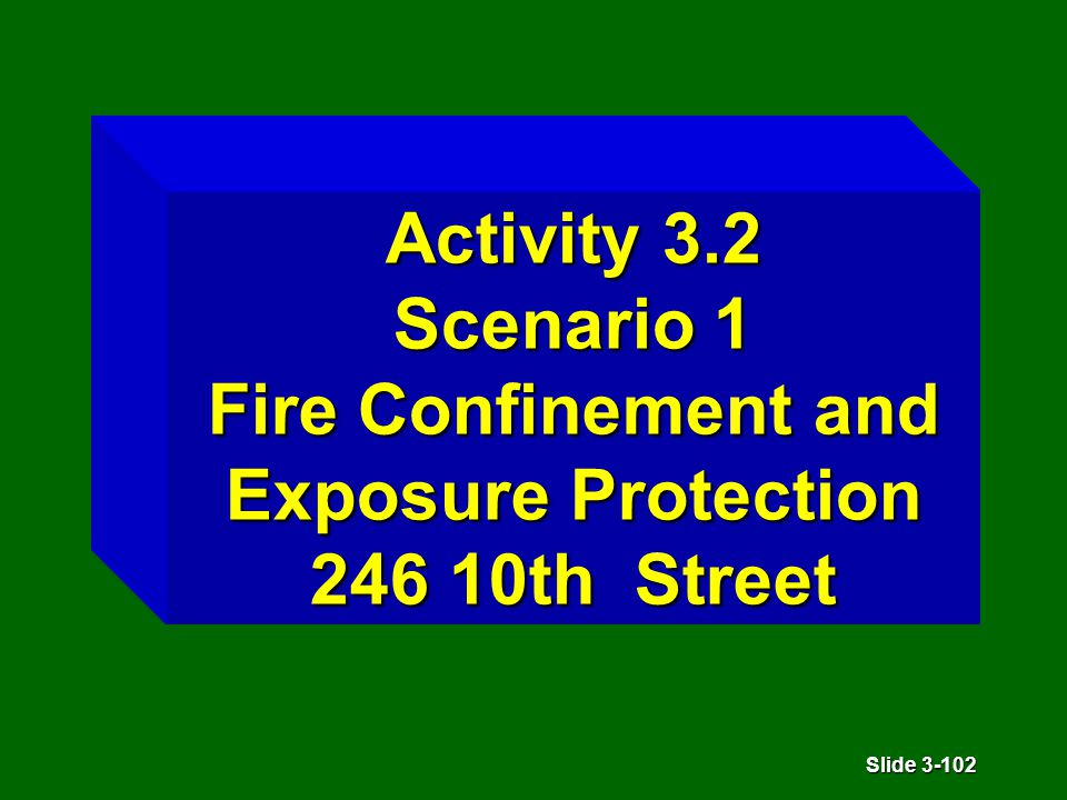 Slide 3-102 Activity 3.2 Scenario 1 Fire Confinement and Exposure Protection 246 10th Street
