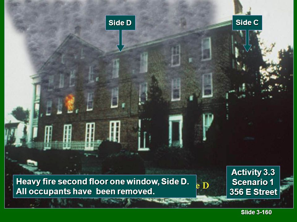 Slide 3-160 Activity 3.3 Scenario 1 356 E Street Heavy fire second floor one window, Side D.