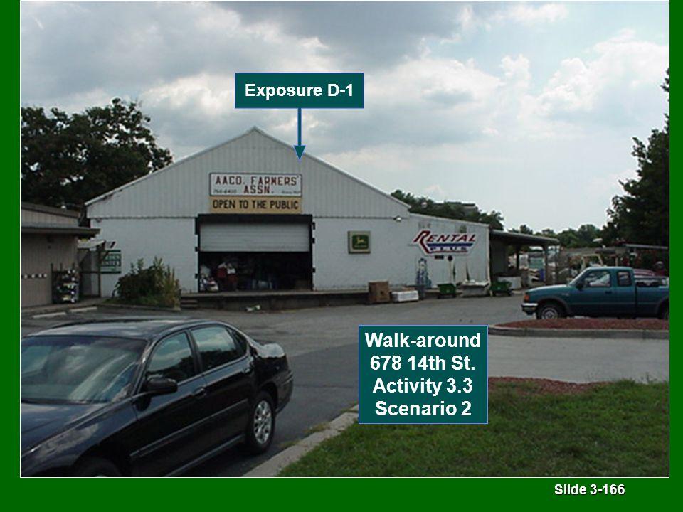 Slide 3-166 Exposure D-1 Walk-around 678 14th St. Activity 3.3 Scenario 2