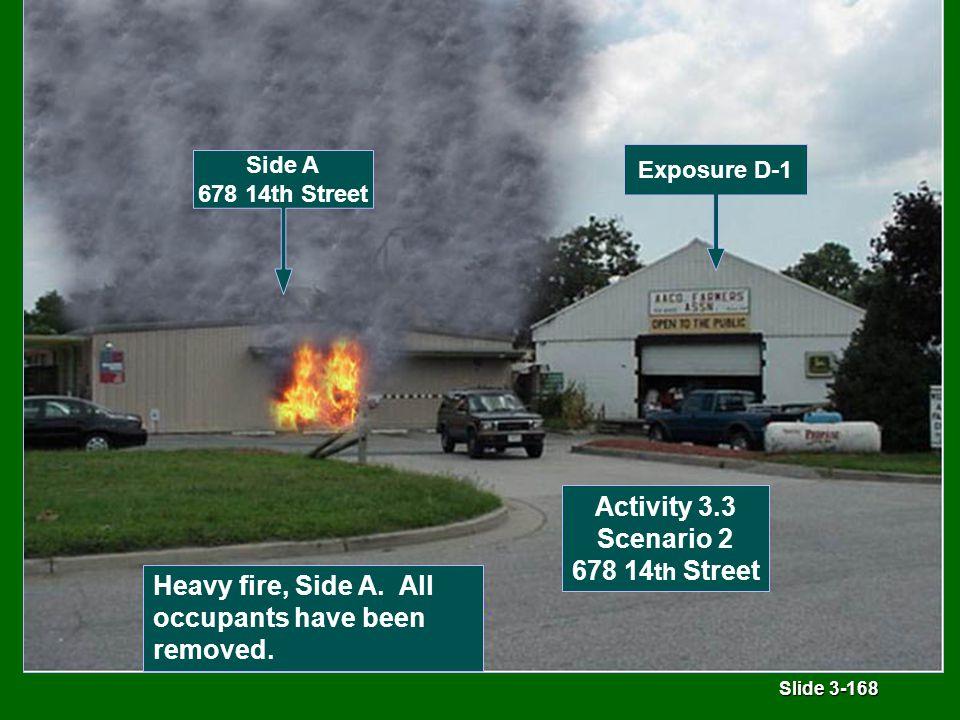 Slide 3-168 Activity 3.3 Scenario 2 678 14 th Street Heavy fire, Side A.