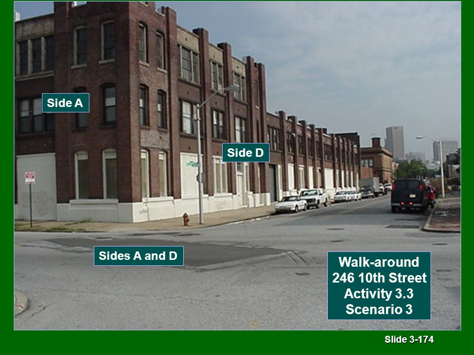 Slide 3-174 Sides A and D Side A Side D Walk-around 246 10th Street Activity 3.3 Scenario 3