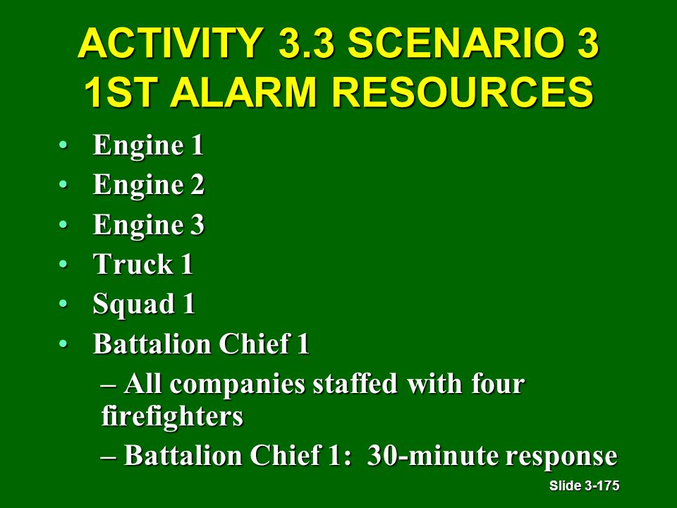 Slide 3-175 ACTIVITY 3.3 SCENARIO 3 1ST ALARM RESOURCES Engine 1Engine 1 Engine 2Engine 2 Engine 3Engine 3 Truck 1Truck 1 Squad 1Squad 1 Battalion Chief 1Battalion Chief 1 – All companies staffed with four firefighters – Battalion Chief 1: 30-minute response