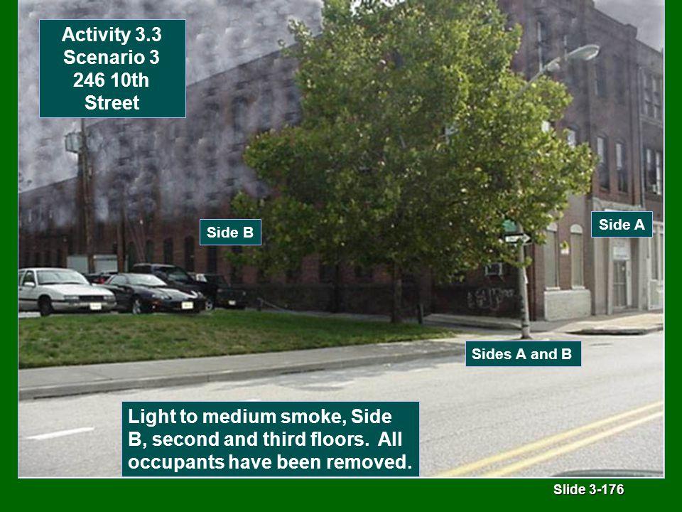 Slide 3-176 Side B Side A Activity 3.3 Scenario 3 246 10th Street Light to medium smoke, Side B, second and third floors.
