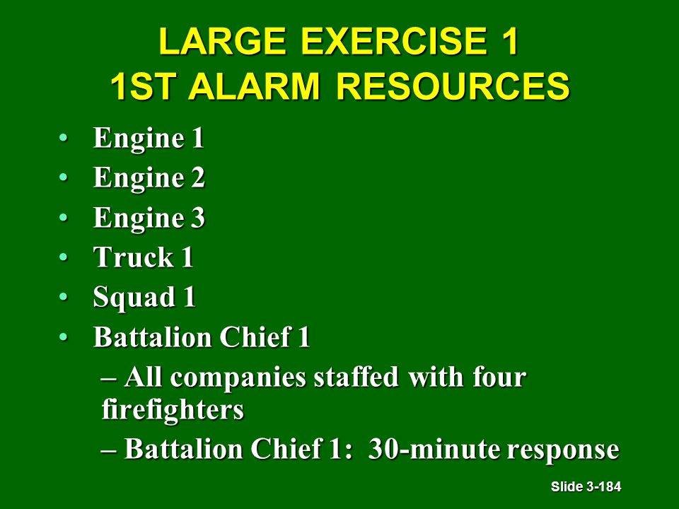 Slide 3-184 LARGE EXERCISE 1 1ST ALARM RESOURCES Engine 1Engine 1 Engine 2Engine 2 Engine 3Engine 3 Truck 1Truck 1 Squad 1Squad 1 Battalion Chief 1Battalion Chief 1 – All companies staffed with four firefighters – Battalion Chief 1: 30-minute response