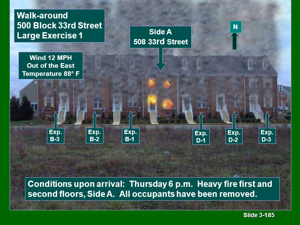 Slide 3-185 Conditions upon arrival: Thursday 6 p.m.