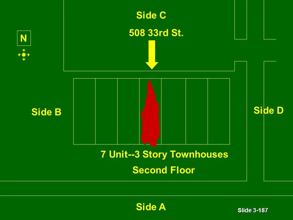 Slide 3-187 7 Unit--3 Story Townhouses N Side C Second Floor Side A Side B Side D 508 33rd St.