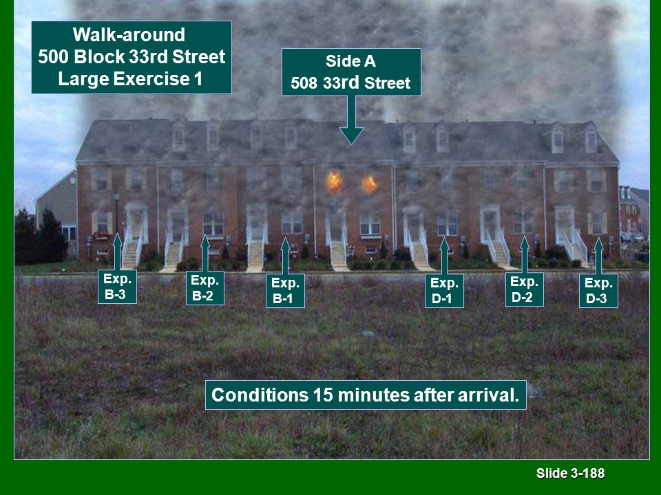 Slide 3-188 Conditions 15 minutes after arrival. Side A 508 33 rd Street Walk-around 500 Block 33rd Street Large Exercise 1 Exp. B-3 Exp. B-2 Exp. B-1