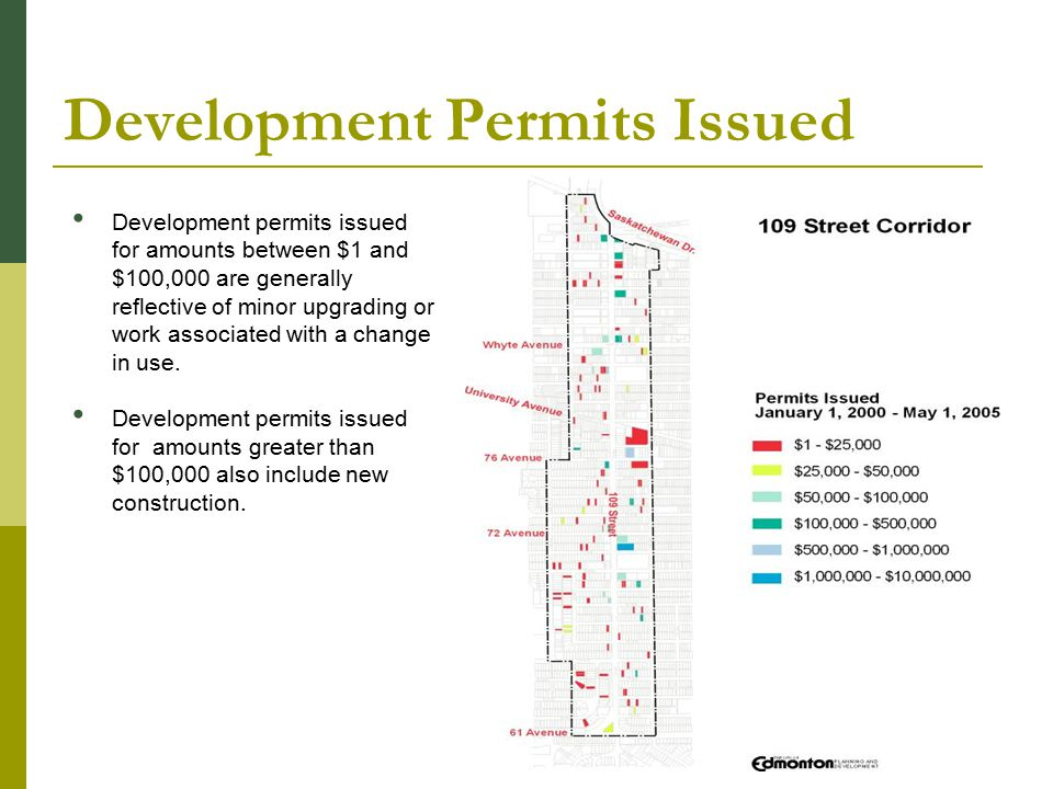 Development Permits Issued Development permits issued for amounts between $1 and $100,000 are generally reflective of minor upgrading or work associated with a change in use.