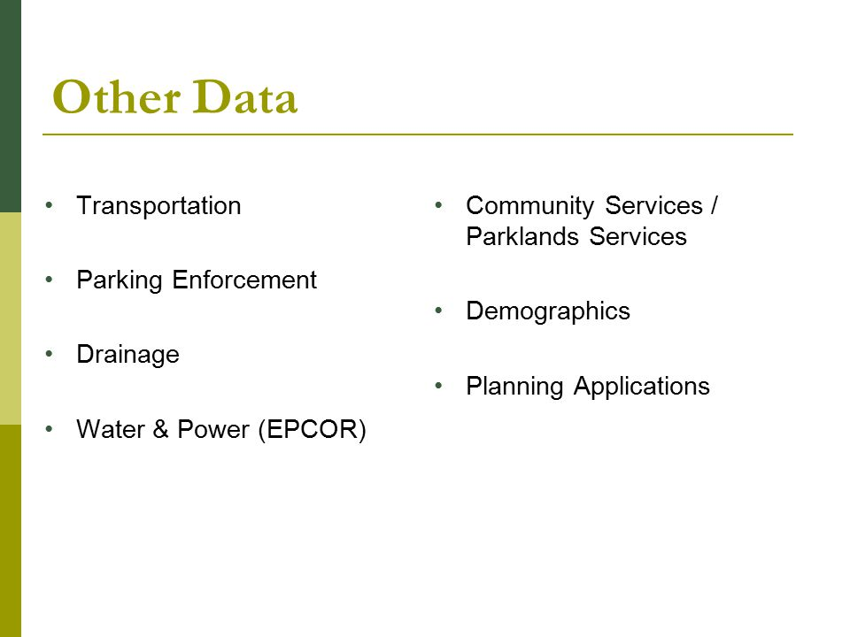 Other Data Transportation Parking Enforcement Drainage Water & Power (EPCOR) Community Services / Parklands Services Demographics Planning Applications