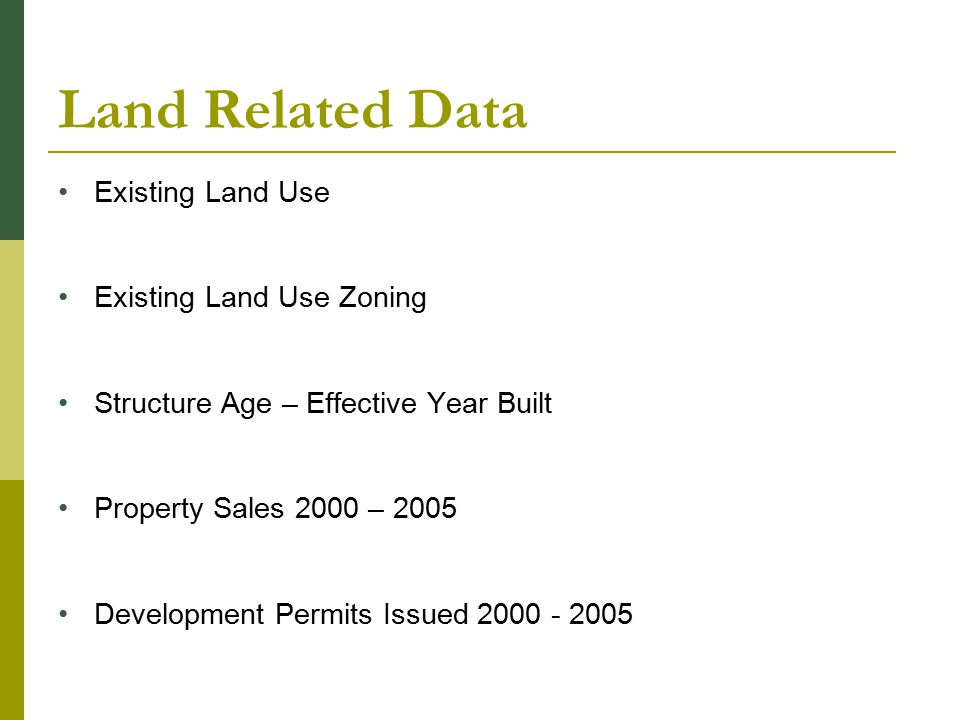 Land Related Data Existing Land Use Existing Land Use Zoning Structure Age – Effective Year Built Property Sales 2000 – 2005 Development Permits Issued 2000 - 2005