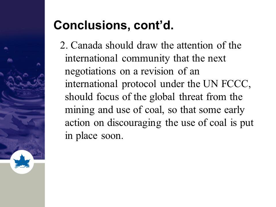 Conclusions, cont'd. 2.