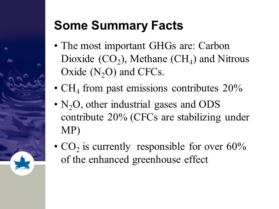 Some Summary Facts The most important GHGs are: Carbon Dioxide (CO 2 ), Methane (CH 4 ) and Nitrous Oxide (N 2 O) and CFCs.
