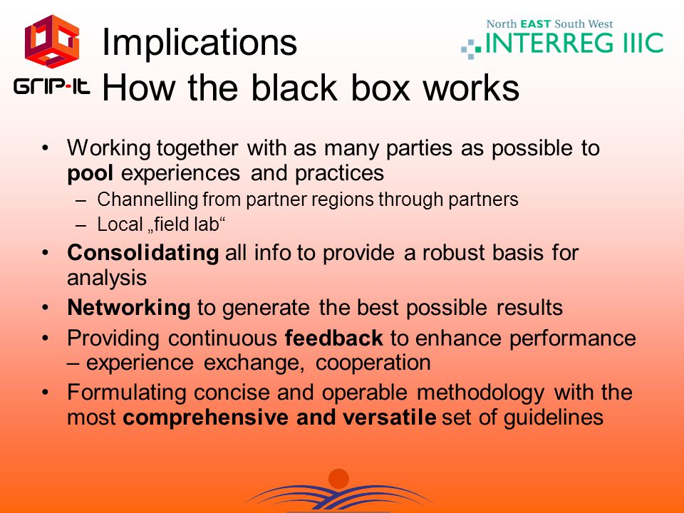 "Implications How the black box works Working together with as many parties as possible to pool experiences and practices –Channelling from partner regions through partners –Local ""field lab Consolidating all info to provide a robust basis for analysis Networking to generate the best possible results Providing continuous feedback to enhance performance – experience exchange, cooperation Formulating concise and operable methodology with the most comprehensive and versatile set of guidelines"