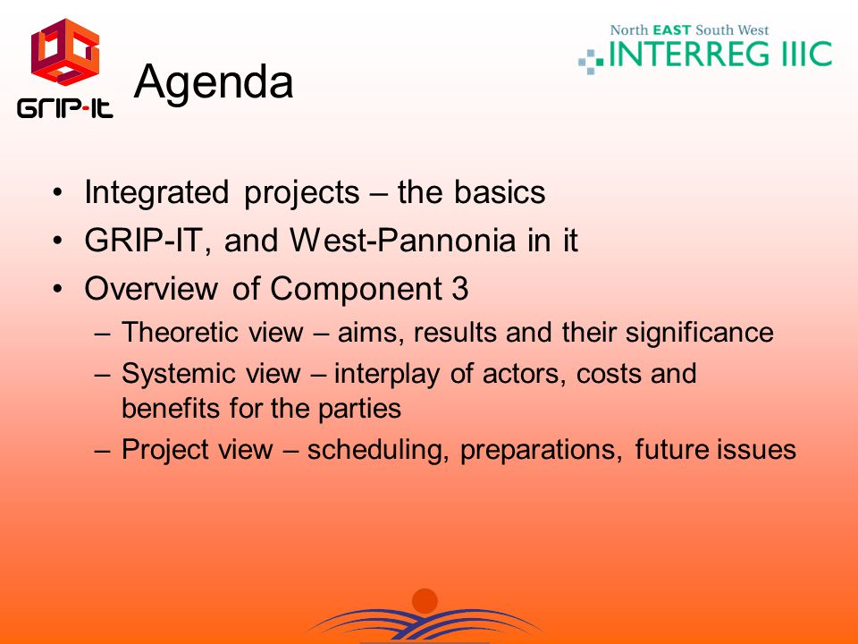 Agenda Integrated projects – the basics GRIP-IT, and West-Pannonia in it Overview of Component 3 –Theoretic view – aims, results and their significance –Systemic view – interplay of actors, costs and benefits for the parties –Project view – scheduling, preparations, future issues