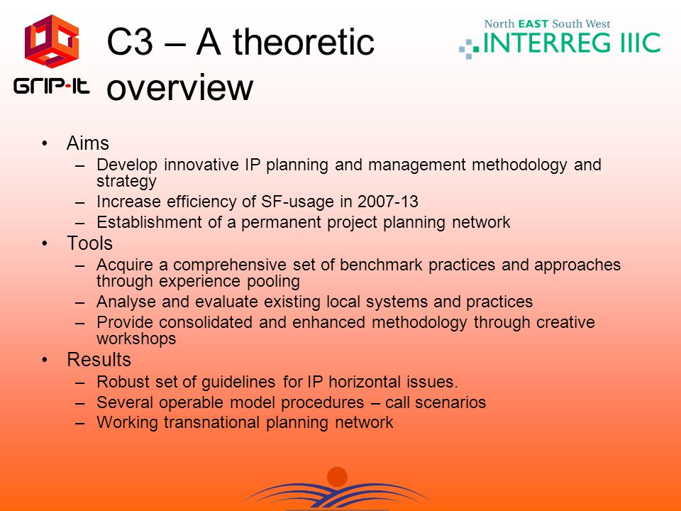 C3 – A theoretic overview Aims –Develop innovative IP planning and management methodology and strategy –Increase efficiency of SF-usage in 2007-13 –Establishment of a permanent project planning network Tools –Acquire a comprehensive set of benchmark practices and approaches through experience pooling –Analyse and evaluate existing local systems and practices –Provide consolidated and enhanced methodology through creative workshops Results –Robust set of guidelines for IP horizontal issues.